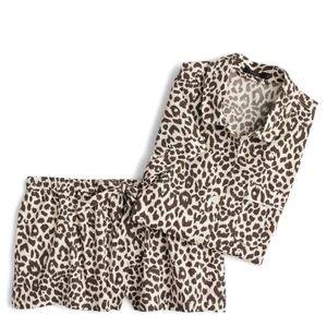 NWT J.Crew Leopard Print Cotton Pajamas - XL